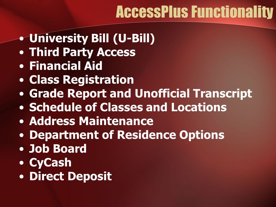 AccessPlus Functionality University Bill (U-Bill) Third Party Access Financial Aid Class Registration Grade Report and Unofficial Transcript Schedule