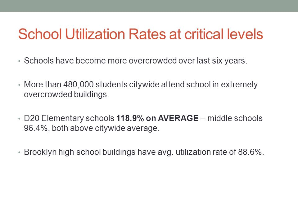 School Utilization Rates at critical levels Schools have become more overcrowded over last six years. More than 480,000 students citywide attend schoo
