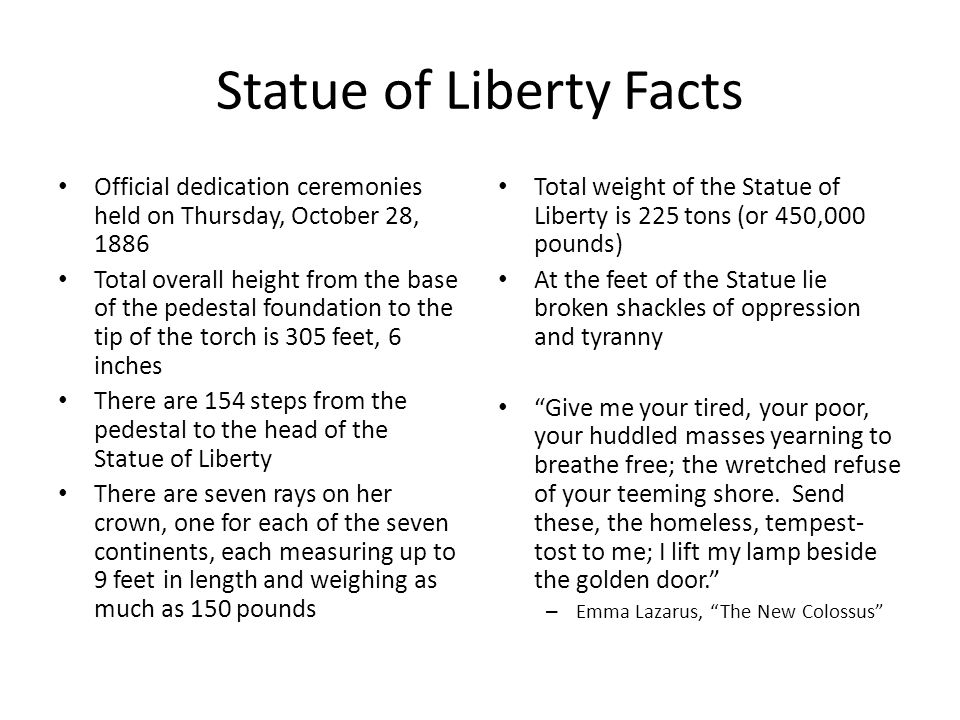 Statue of Liberty Facts Official dedication ceremonies held on Thursday, October 28, 1886 Total overall height from the base of the pedestal foundatio