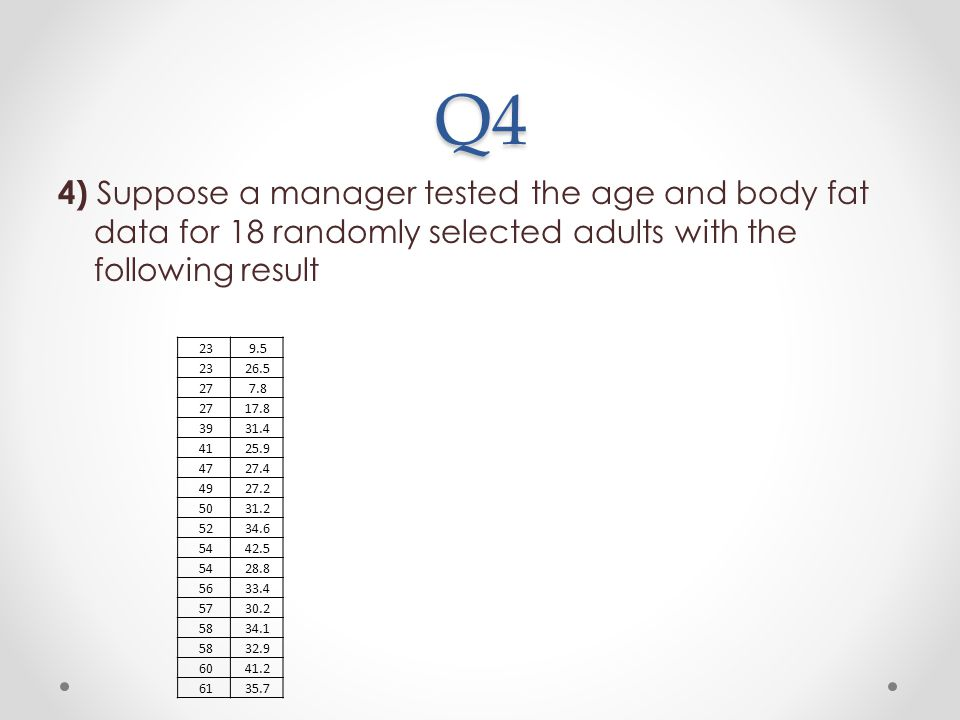 Q4 4) Suppose a manager tested the age and body fat data for 18 randomly selected adults with the following result 239.5 2326.5 277.8 2717.8 3931.4 41