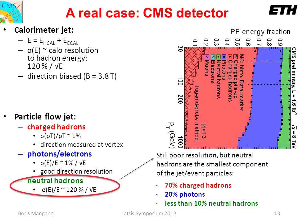 Boris ManganoLatsis Symposium 201313 Calorimeter jet: – E = E HCAL + E ECAL – σ(E) ~ calo resolution to hadron energy: 120 % / √E – direction biased (
