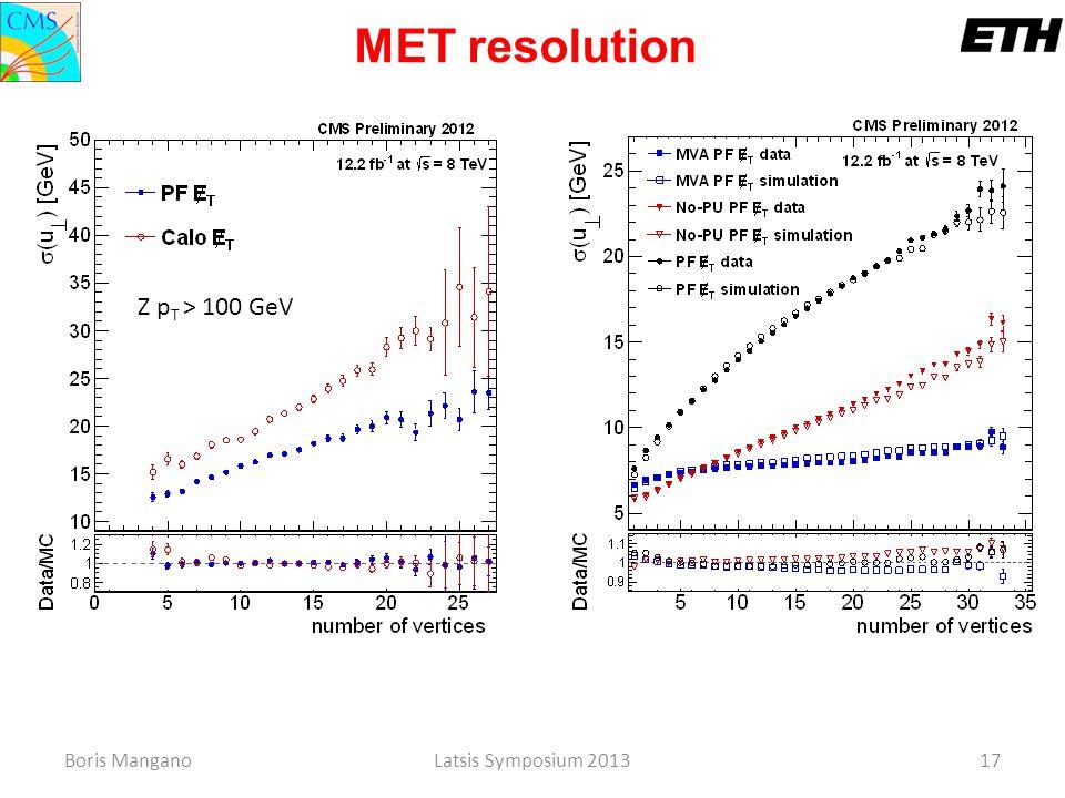 Boris ManganoLatsis Symposium 2013 17 MET resolution Z p T > 100 GeV