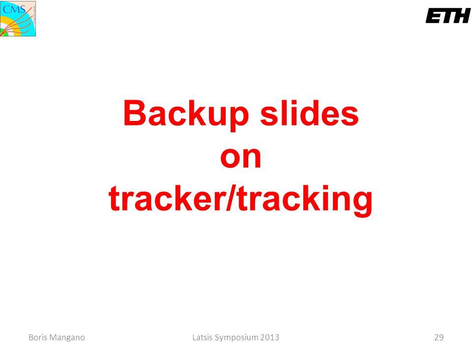 Boris ManganoLatsis Symposium 201329 Backup slides on tracker/tracking