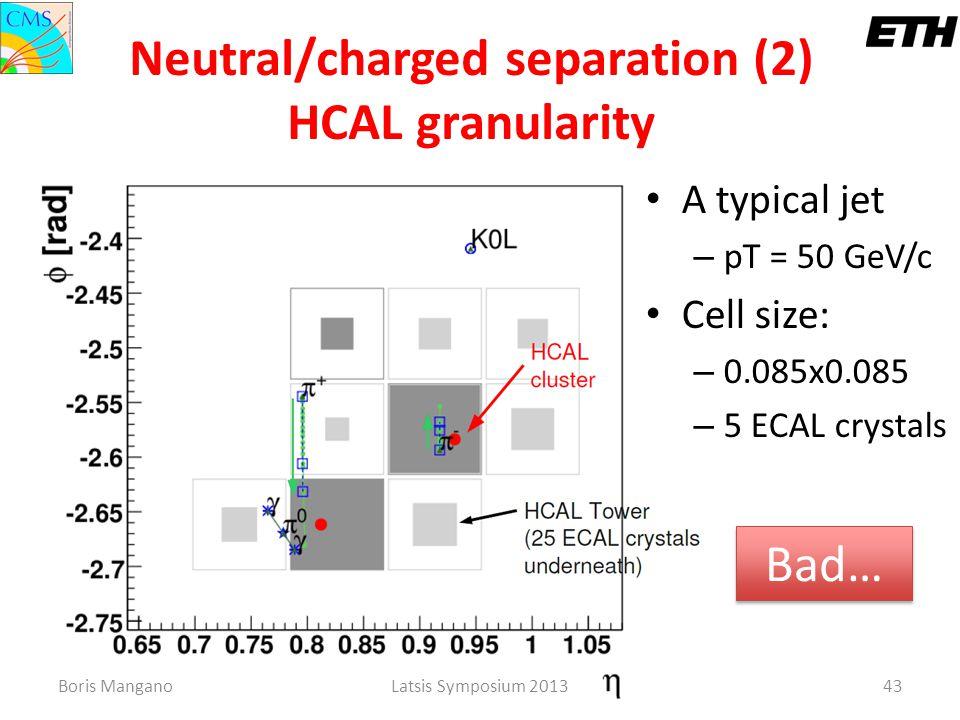 Boris ManganoLatsis Symposium 201343 Neutral/charged separation (2) HCAL granularity A typical jet – pT = 50 GeV/c Cell size: – 0.085x0.085 – 5 ECAL c