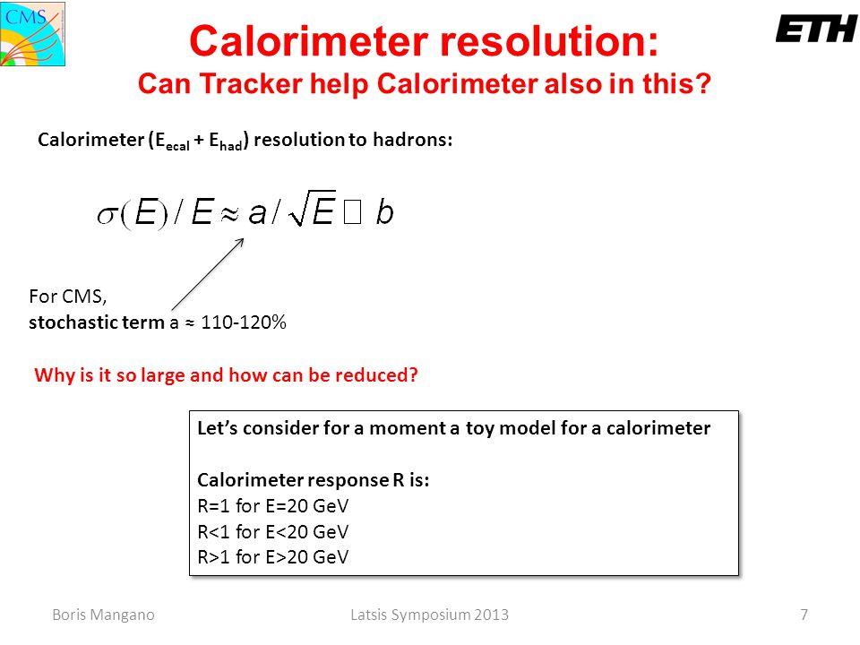 Boris ManganoLatsis Symposium 20137 Let's consider for a moment a toy model for a calorimeter Calorimeter response R is: R=1 for E=20 GeV R<1 for E<20