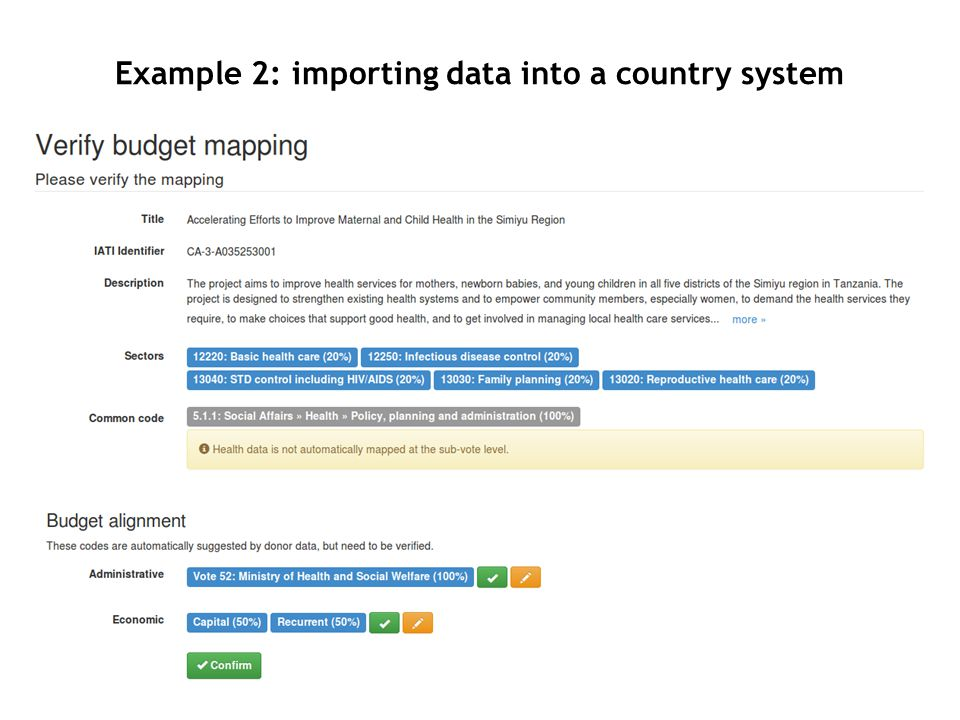 Example 2: importing data into a country system