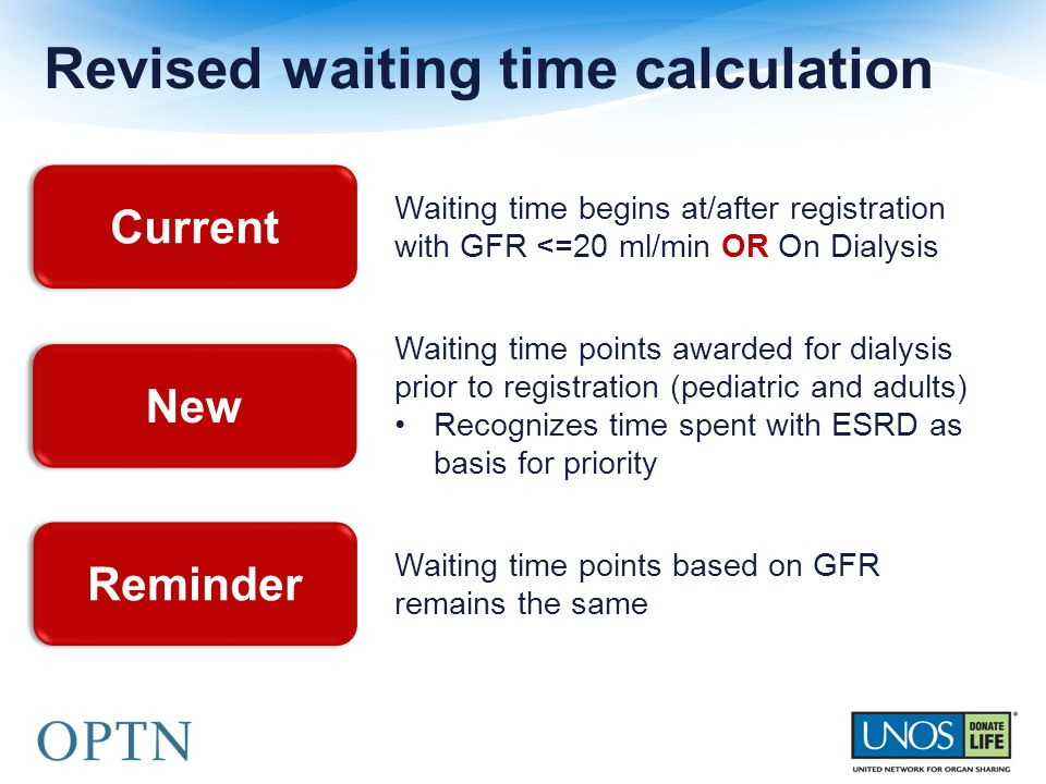 Revised waiting time calculation Current New Reminder Waiting time begins at/after registration with GFR <=20 ml/min OR On Dialysis Waiting time points awarded for dialysis prior to registration (pediatric and adults) Recognizes time spent with ESRD as basis for priority Waiting time points based on GFR remains the same