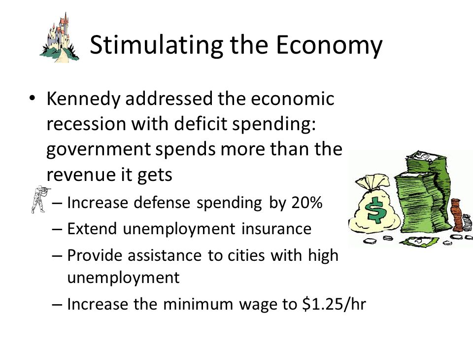 Stimulating the Economy Kennedy addressed the economic recession with deficit spending: government spends more than the revenue it gets – Increase def