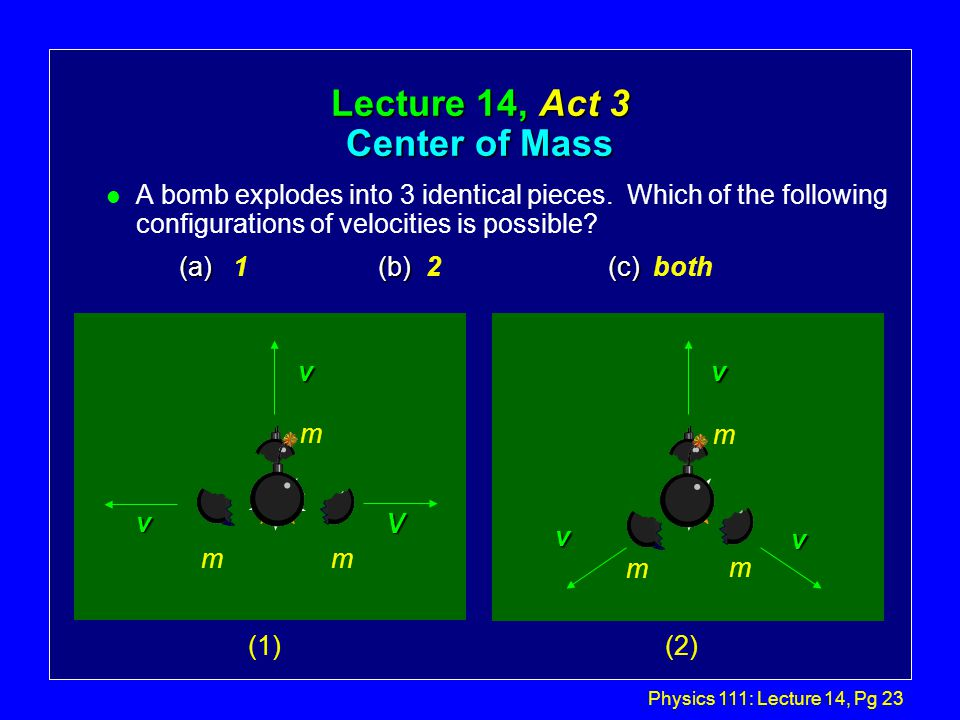 Physics 111: Lecture 14, Pg 22 Explosion... P l No external forces, so P is conserved.