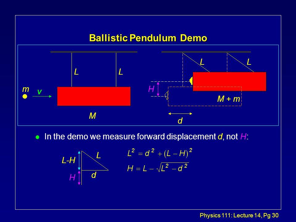 Physics 111: Lecture 14, Pg 29 Ballistic Pendulum...