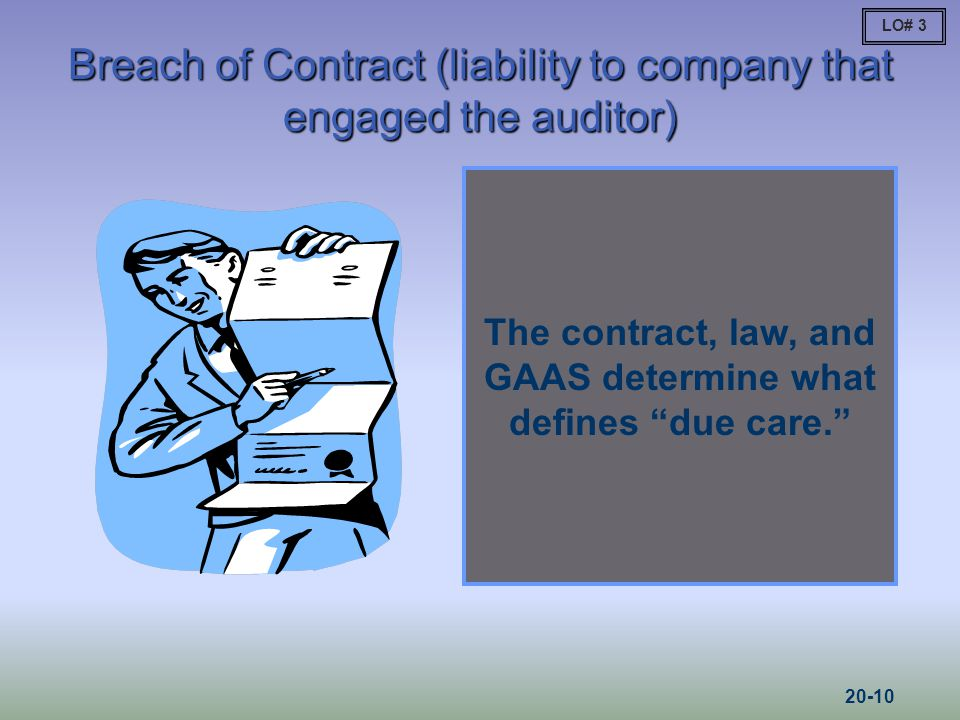 Breach of Contract (liability to company that engaged the auditor) The contract, law, and GAAS determine what defines due care. LO# 3 20-10