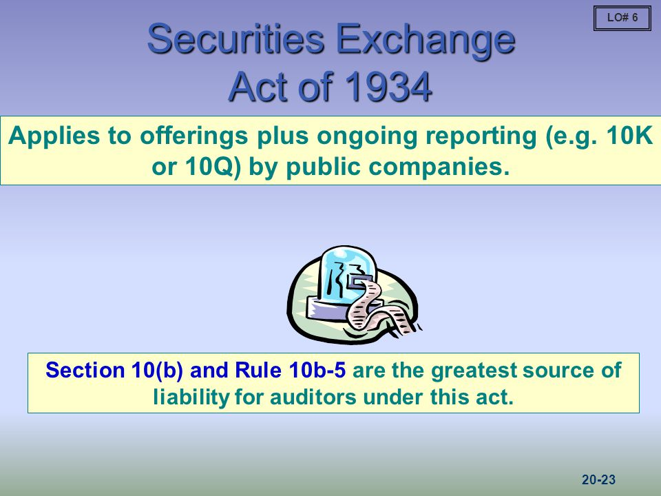 Securities Exchange Act of 1934 Applies to offerings plus ongoing reporting (e.g.