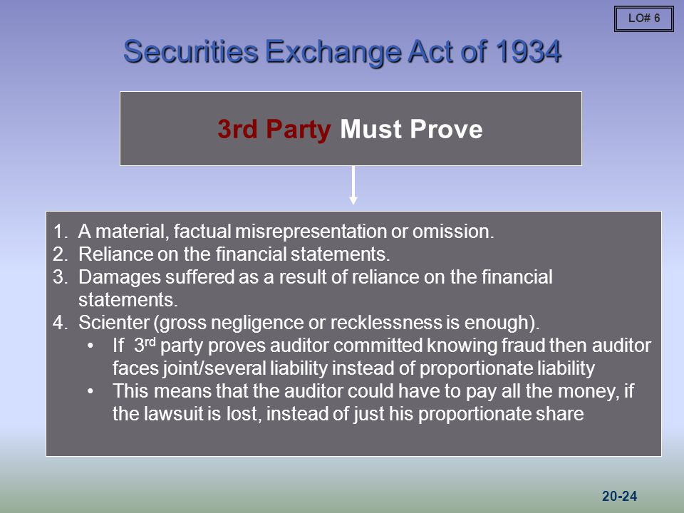 Securities Exchange Act of 1934 3rd Party Must Prove 1.A material, factual misrepresentation or omission.