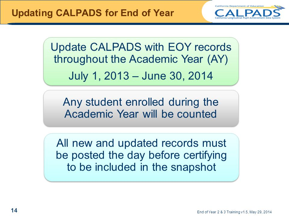 Updating CALPADS for End of Year End of Year 2 & 3 Training v1.5, May 29, 2014 Update CALPADS with EOY records throughout the Academic Year (AY) July 1, 2013 – June 30, 2014 Update CALPADS with EOY records throughout the Academic Year (AY) July 1, 2013 – June 30, 2014 Any student enrolled during the Academic Year will be counted All new and updated records must be posted the day before certifying to be included in the snapshot 14