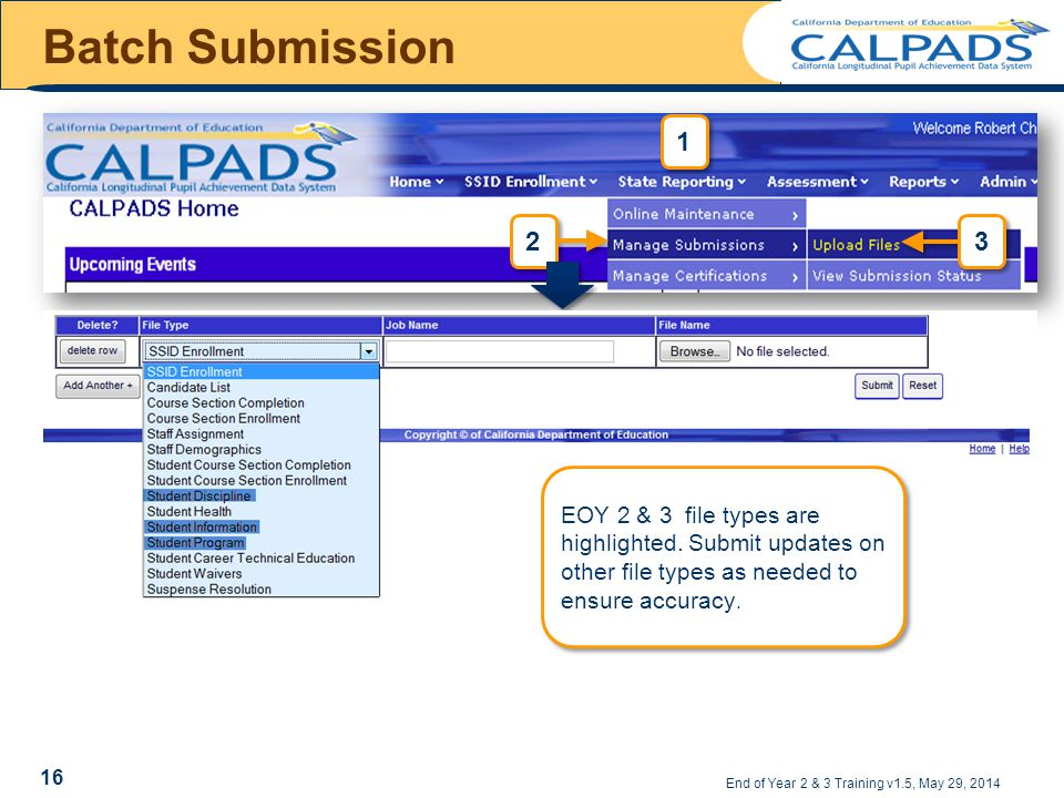 Batch Submission End of Year 2 & 3 Training v1.5, May 29, 2014 16 EOY 2 & 3 file types are highlighted.