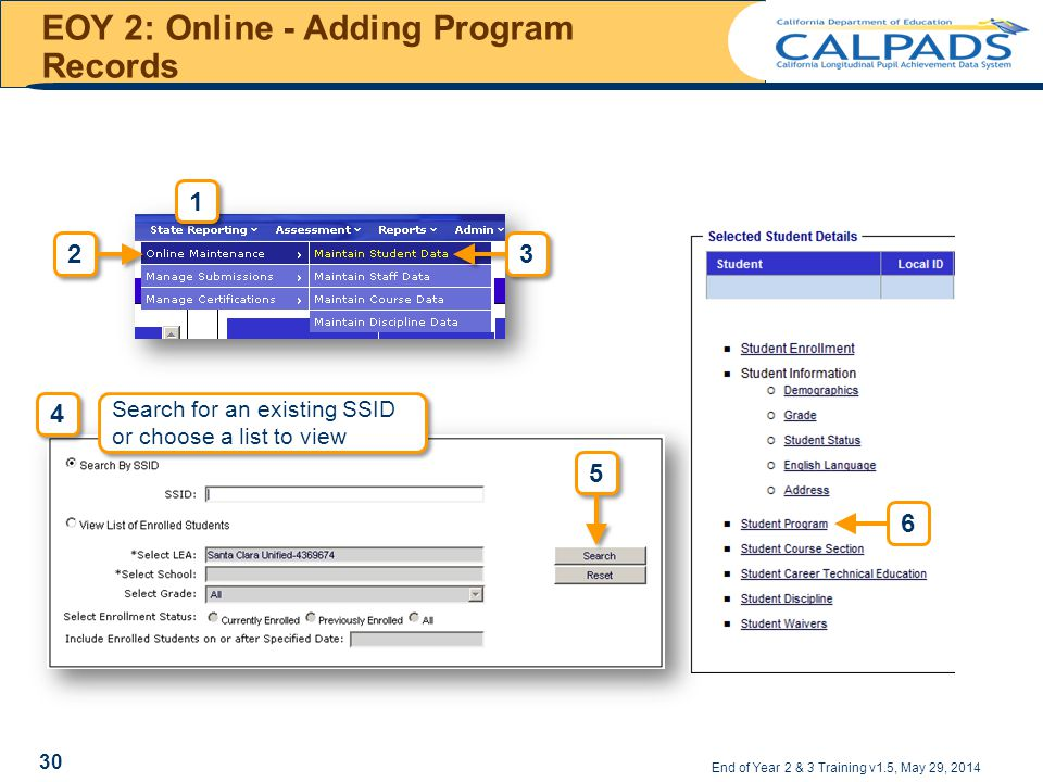 EOY 2: Online - Adding Program Records End of Year 2 & 3 Training v1.5, May 29, 2014 1 1 4 4 Search for an existing SSID or choose a list to view 6 30
