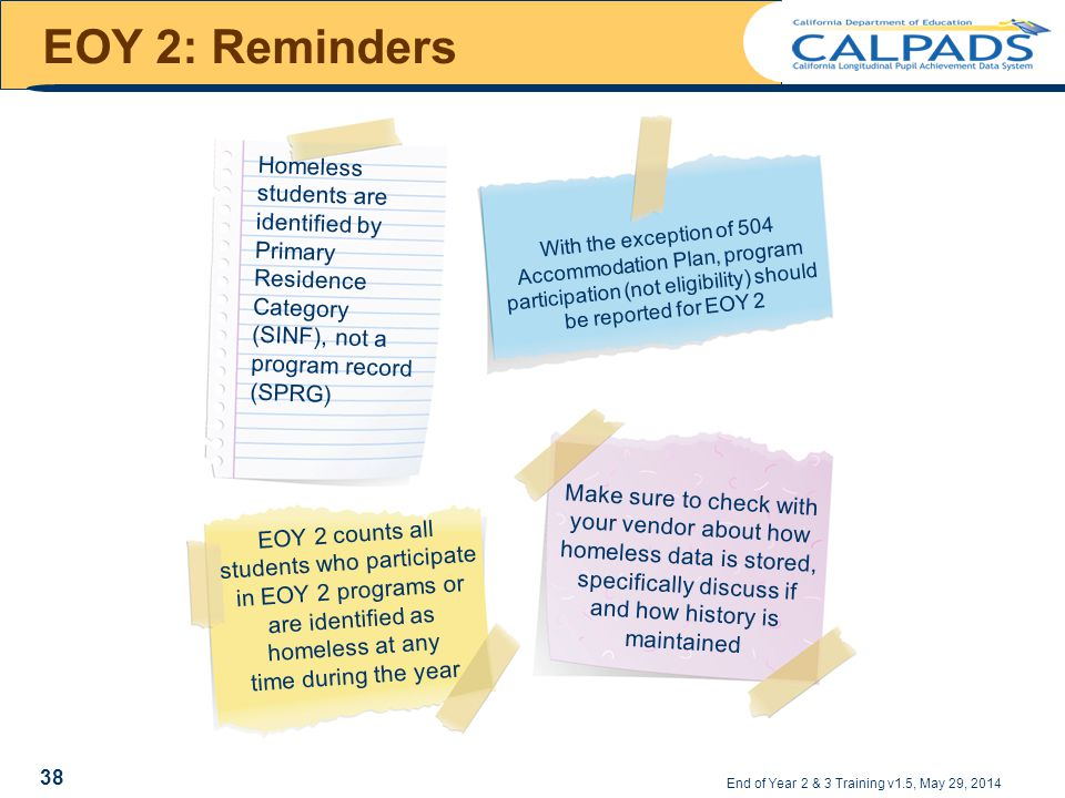 EOY 2: Reminders Homeless students are identified by Primary Residence Category (SINF), not a program record (SPRG) With the exception of 504 Accommodation Plan, program participation (not eligibility) should be reported for EOY 2 EOY 2 counts all students who participate in EOY 2 programs or are identified as homeless at any time during the year Make sure to check with your vendor about how homeless data is stored, specifically discuss if and how history is maintained End of Year 2 & 3 Training v1.5, May 29, 2014 38