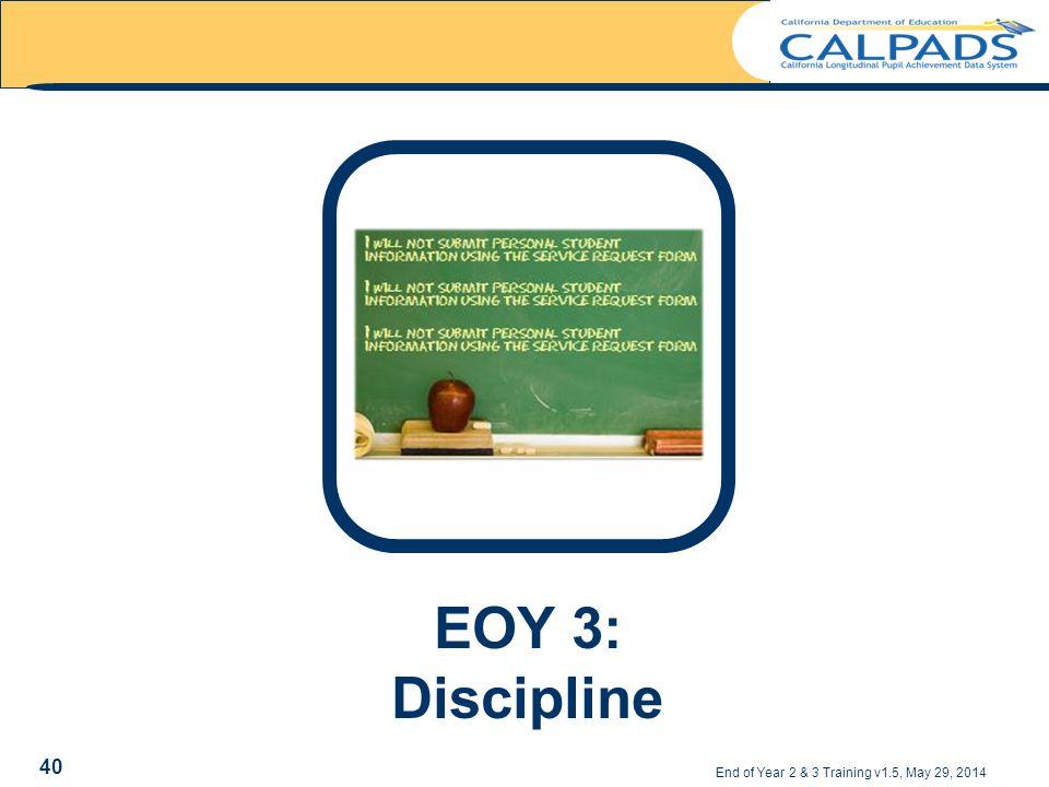 End of Year 2 & 3 Training v1.5, May 29, 2014 40 EOY 3: Discipline