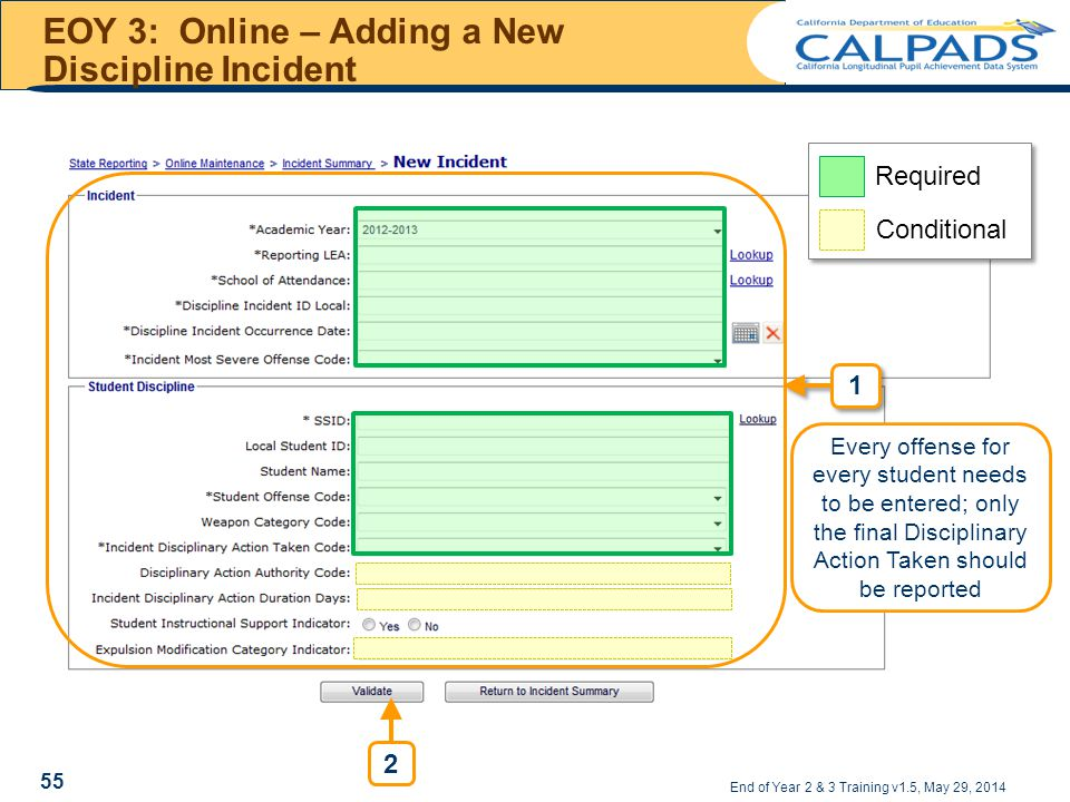 EOY 3: Online – Adding a New Discipline Incident End of Year 2 & 3 Training v1.5, May 29, 2014 Required Conditional Every offense for every student needs to be entered; only the final Disciplinary Action Taken should be reported 2 55