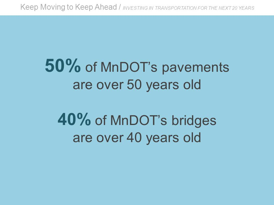 Keep Moving to Keep Ahead / INVESTING IN TRANSPORTATION FOR THE NEXT 20 YEARS 50% of MnDOT's pavements are over 50 years old 40% of MnDOT's bridges are over 40 years old