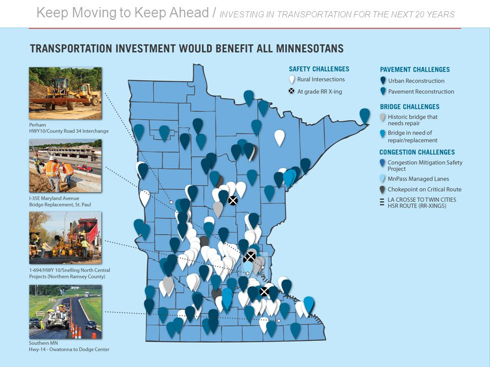 Keep Moving to Keep Ahead / INVESTING IN TRANSPORTATION FOR THE NEXT 20 YEARS Investment and growth Transportation investment would benefit all Minnesotans.