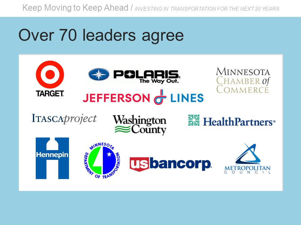 Keep Moving to Keep Ahead / INVESTING IN TRANSPORTATION FOR THE NEXT 20 YEARS Over 70 leaders agree