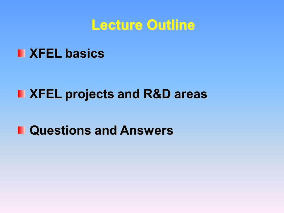 Lecture Outline XFEL basics XFEL basics XFEL projects and R&D areas XFEL projects and R&D areas Questions and Answers Questions and Answers