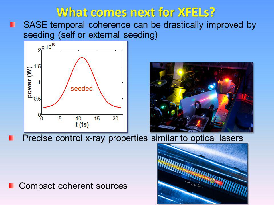 What comes next for XFELs? Precise control x-ray properties similar to optical lasers Compact coherent sources SASE temporal coherence can be drastica