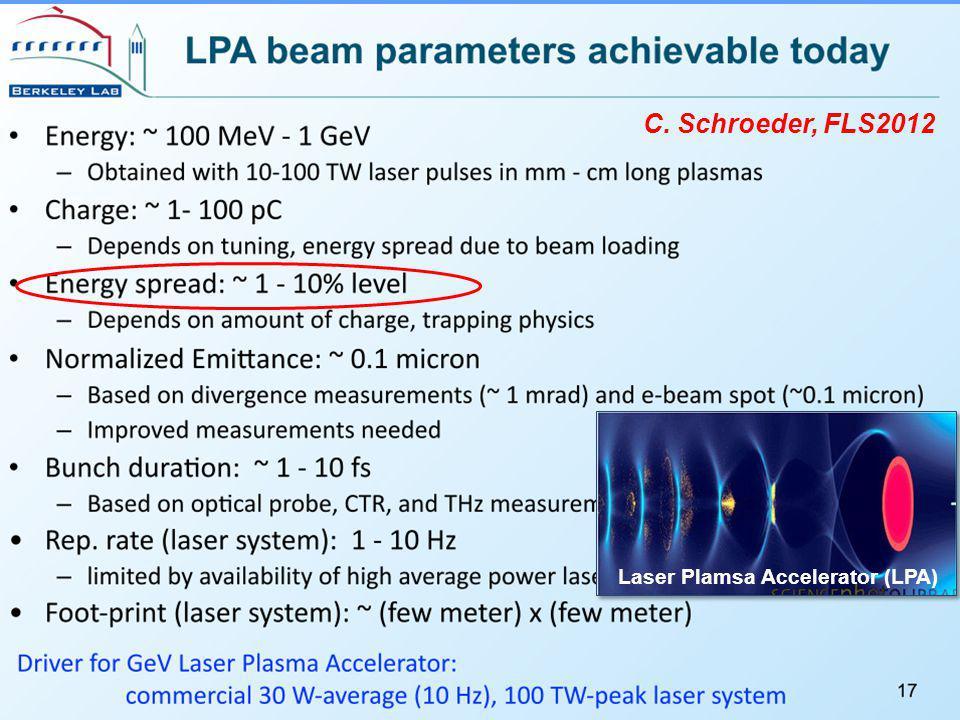 C. Schroeder, FLS2012 Laser Plamsa Accelerator (LPA)