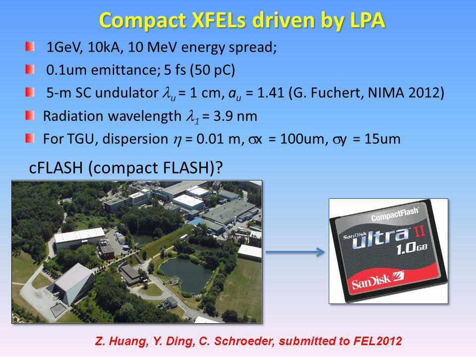 1GeV, 10kA, 10 MeV energy spread; 0.1um emittance; 5 fs (50 pC) 5-m SC undulator u = 1 cm, a u = 1.41 (G.
