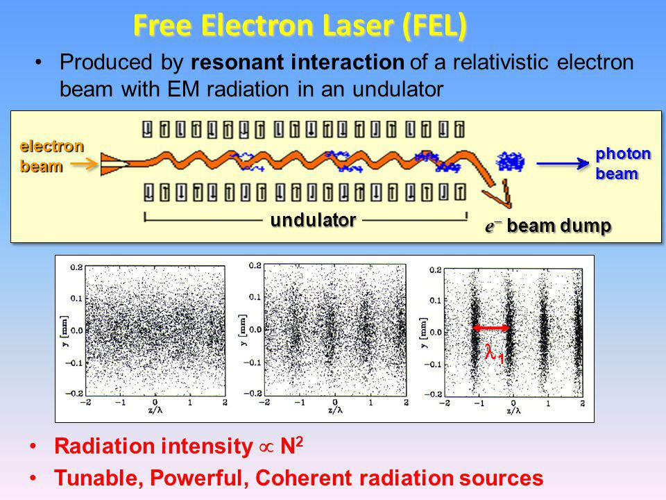 Produced by resonant interaction of a relativistic electron beam with EM radiation in an undulator Free Electron Laser (FEL) electron beam photon beam e  beam dump undulator 1 Radiation intensity  N 2 Tunable, Powerful, Coherent radiation sources
