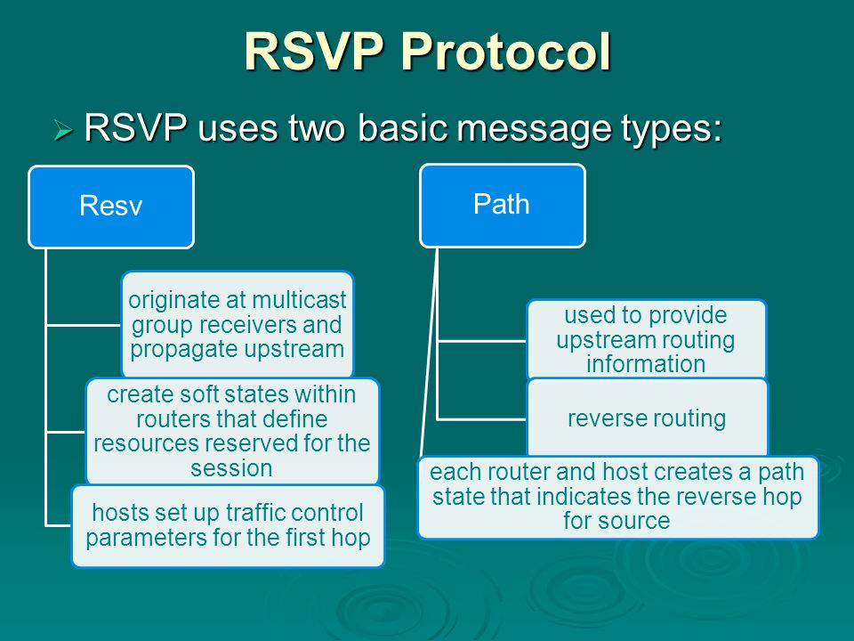 RSVP Protocol  RSVP uses two basic message types: Resv originate at multicast group receivers and propagate upstream create soft states within routers that define resources reserved for the session hosts set up traffic control parameters for the first hop Path used to provide upstream routing information reverse routing each router and host creates a path state that indicates the reverse hop for source