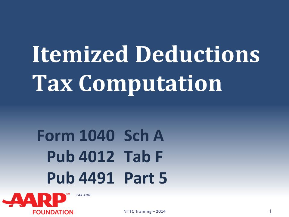 TAX-AIDE Deductions ● May claim larger of Standard deduction  Increased if at least 65 or blind -OR- Itemized deductions ● If itemized deductions are entered, TaxWise will select better option NTTC Training – 2014 2