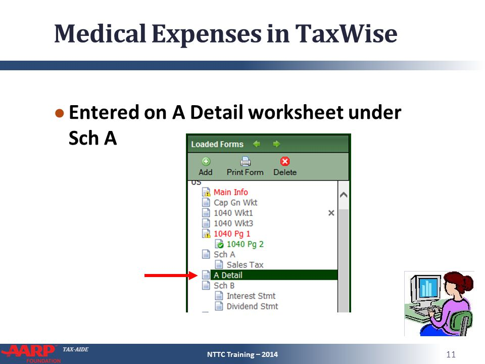 TAX-AIDE Medical Expenses in TaxWise ● Entered on A Detail worksheet under Sch A NTTC Training – 2014 11