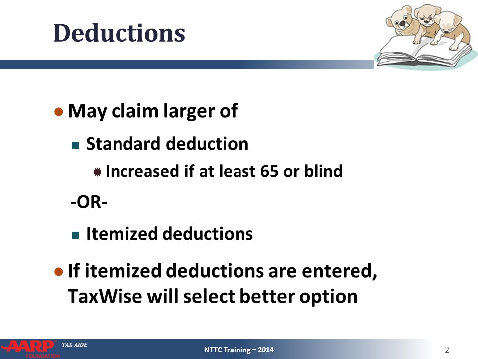 TAX-AIDE Deductions ● May claim larger of Standard deduction  Increased if at least 65 or blind -OR- Itemized deductions ● If itemized deductions are entered, TaxWise will select better option NTTC Training – 2014 2