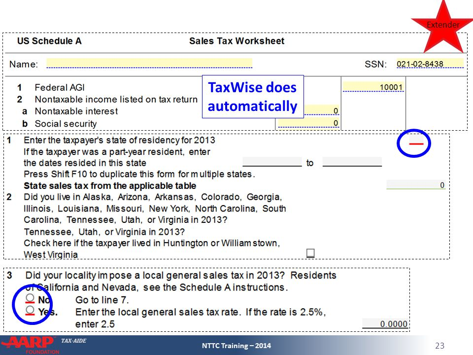 TAX-AIDE NTTC Training – 2014 23 TaxWise does automatically Extender