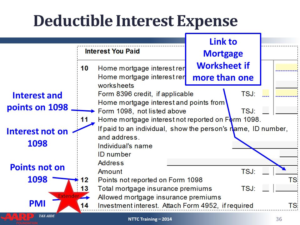 TAX-AIDE Deductible Interest Expense NTTC Training – 2014 36 Interest and points on 1098 Interest not on 1098 Points not on 1098 PMI Link to Mortgage Worksheet if more than one Extender