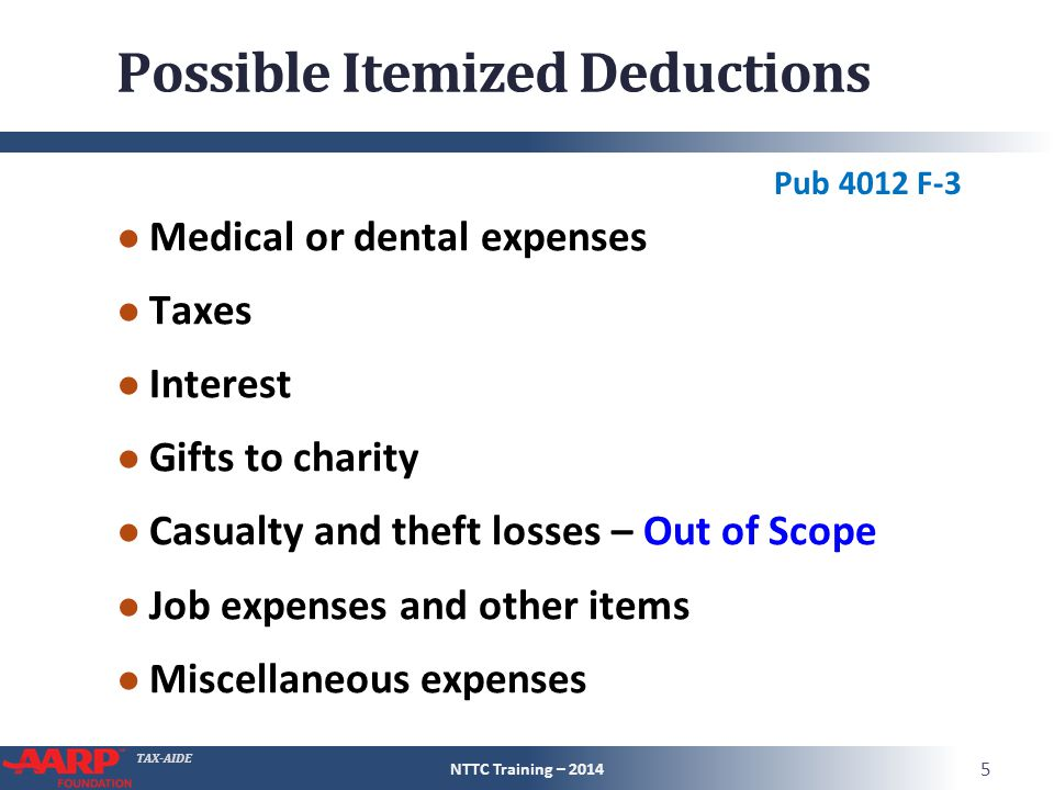 TAX-AIDE Limitations on Scope ● Individuals with the following should be referred to a paid preparer Investment interest expense A charitable contribution carryover from a prior year or created in the current year Noncash donations exceeding $5,000 Job expenses which were partially reimbursed by the employer Casualties or theft losses NTTC Training – 2014 6