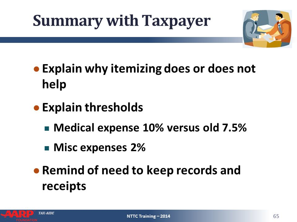 TAX-AIDE Summary with Taxpayer ● Explain why itemizing does or does not help ● Explain thresholds Medical expense 10% versus old 7.5% Misc expenses 2% ● Remind of need to keep records and receipts NTTC Training – 2014 65