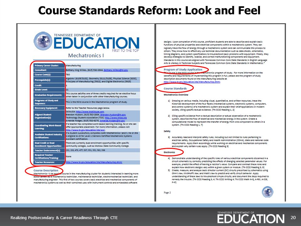 20 Course Standards Reform: Look and Feel Realizing Postsecondary & Career Readiness Through CTE