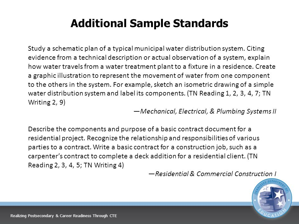 Additional Sample Standards Study a schematic plan of a typical municipal water distribution system.