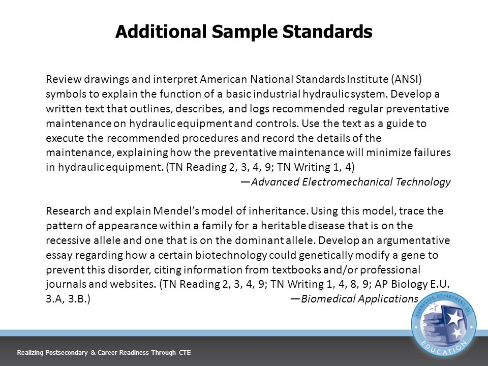Additional Sample Standards Review drawings and interpret American National Standards Institute (ANSI) symbols to explain the function of a basic industrial hydraulic system.