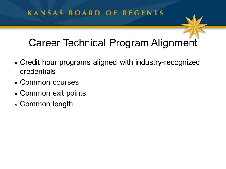 Career Technical Program Alignment  Credit hour programs aligned with industry-recognized credentials  Common courses  Common exit points  Common length