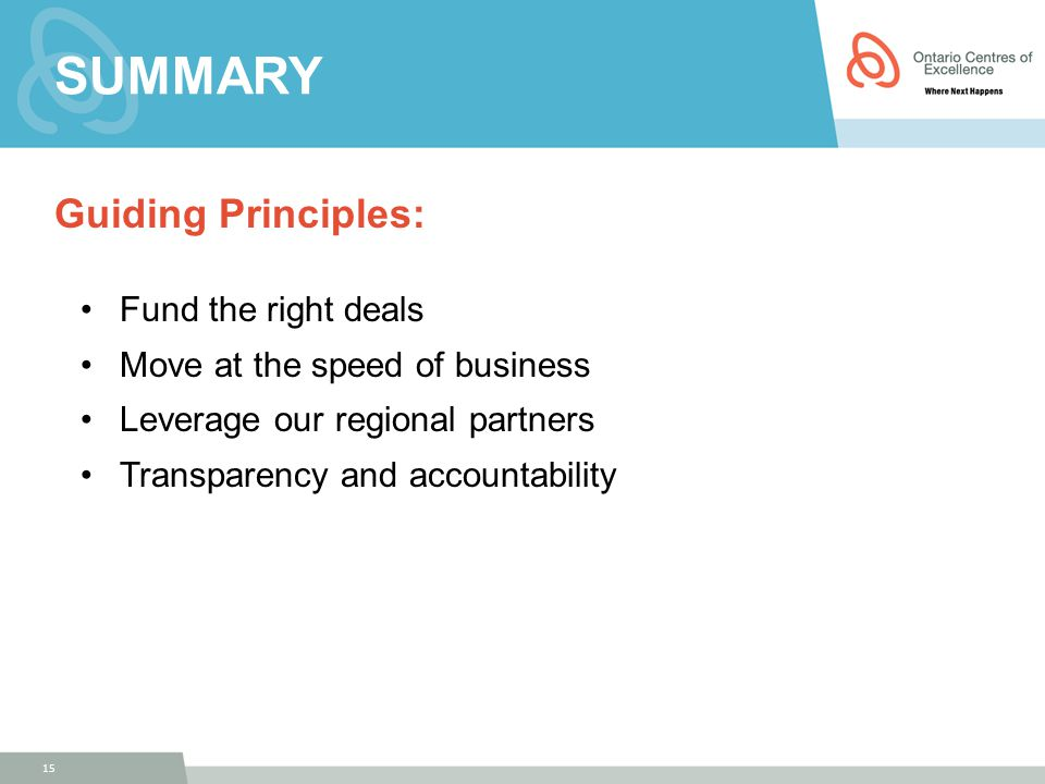 SUMMARY Guiding Principles: Fund the right deals Move at the speed of business Leverage our regional partners Transparency and accountability 15