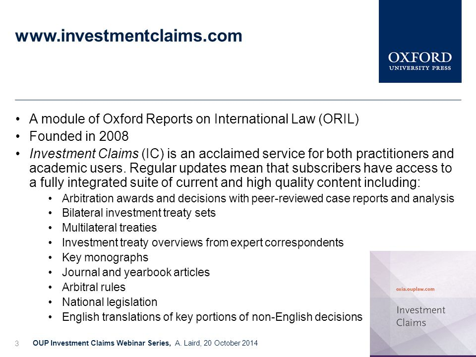 www.investmentclaims.com OUP Investment Claims Webinar Series, A.