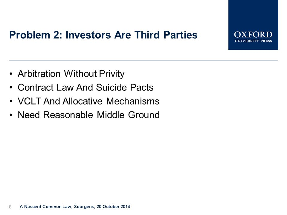 Problem 2: Investors Are Third Parties A Nascent Common Law; Sourgens, 20 October 2014 8 Arbitration Without Privity Contract Law And Suicide Pacts VCLT And Allocative Mechanisms Need Reasonable Middle Ground