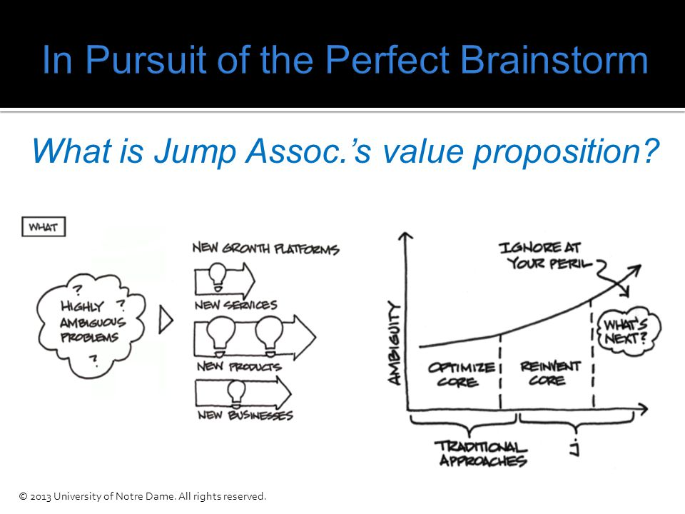 What is Jump Assoc.'s value proposition © 2013 University of Notre Dame. All rights reserved.