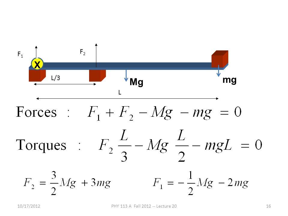 10/17/2012PHY 113 A Fall 2012 -- Lecture 2016 F1F1 F2F2 L/3 L Mg mg * X