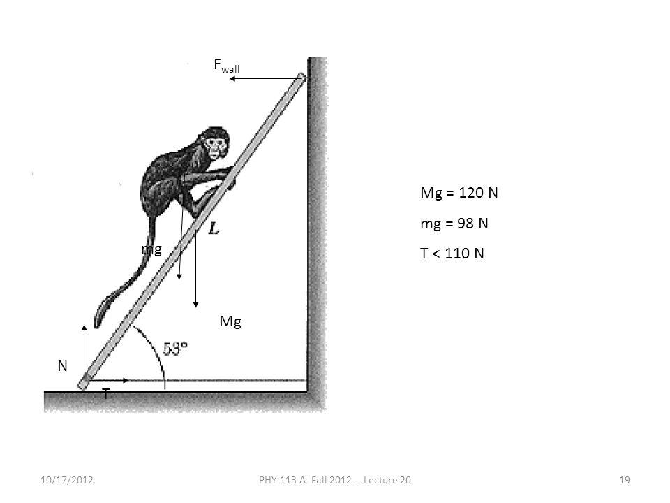 10/17/2012PHY 113 A Fall 2012 -- Lecture 2019 mg Mg F wall N T Mg = 120 N mg = 98 N T < 110 N