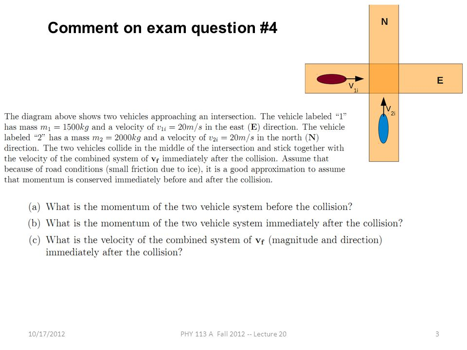 10/17/2012PHY 113 A Fall 2012 -- Lecture 203 Comment on exam question #4